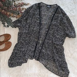 Black and White Patterned Angie Kimono Cardigan